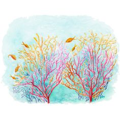 Sea Coral Art Sea Coral Painting Coral Print. Sea Coral Watercolor... ($18) ❤ liked on Polyvore featuring home, home decor, wall art, sea home decor, water color painting, ocean paintings, beach watercolor paintings and watercolour painting