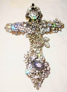 ....a new vintage jewelry embellished wall cross!