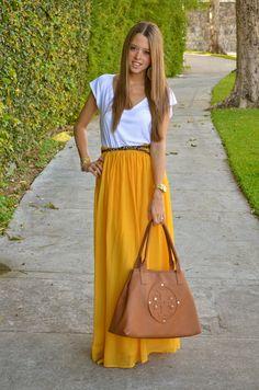 Maxi skirt, leopard belt and Tory Burch purse