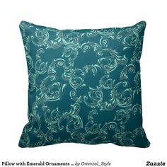 Elegant emerald pillow in baroque gothic style for Home decor. Your bedroom will be looks like luxury bedchamber in traditional beautiful design. More unique and vintage home accessories in my store on Zazzle.