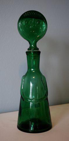 Green Glass Woman Decanter