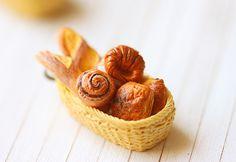 Bread Basket Pendant - French Bread Pendant - Miniature Food Jewelry