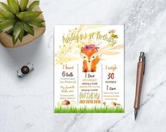 """Woodland Wild One Birthday Invitation, Forest Theme Birthday Party, Fox Young Wild and One, Girl First Birthday Invite WE DESIGN IT YOU PRINT IT Invitation is personalized and supplied to you as a digital printable JPEG file via email. ********************************* CURRENT PROCESSING TIME 24 to 48 hours ********************************* PLEASE PROVIDE THE FOLLOWING INFORMATION IN THE """"NOTES TO SELLER"""" BOX DURING CHECK OUT OR VIA ETSY MESSAGE: Name and age If you order picture invitati..."""