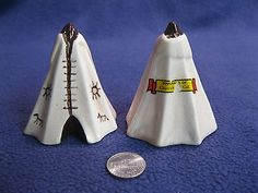 Vintage Native Tepee Cone Chowchilla CA Salt and Pepper Shakers Ceramic       89