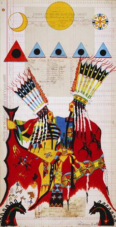 """""""Under Protection of Creator Sun,"""" by Terrance Guardipee. (Article at link: """"Blackfeet artist to exhibit unique approach to ledger art,"""" by Cory Walsh for the Missoulian.)"""