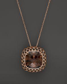 "Roberto Coin 18K Rose Gold Ipanema Square Smoky Quartz Necklace, 16"""