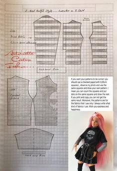 Fashion Dolls Couture - Unlimited: E-Girl Outfit Style - Made to Move Barbie - Sewing Barbie Clothes, Barbie Sewing Patterns, Barbie Dolls Diy, Doll Dress Patterns, Barbie Dress, Clothing Patterns, Barbie Outfits, Barbie Barbie, Girl Outfits