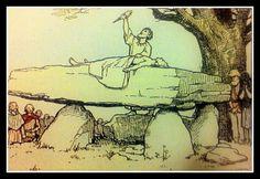 Visión romántica (siglo XIX) sobre el los pueblos ancestrales galos. Sacrificio humano sobre un dolmen. Dolmen, Galo, Aliens, 19th Century