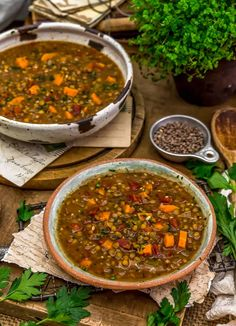 """Aromatic Italian sausage flavors deliciously infuse this hearty, wholesome Vegan Lentil """"Sausage"""" Soup. A delicious oil-free, low-fat meal! #wholefoodplantbased #vegan #oilfree #glutenfree #plantbased 