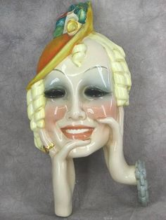 Art Deco Lenci characters were usually glazed, as this one appears to be. Ceramic Lady Heads, Art Nouveau, Masks Art, Art Deco Furniture, Art Deco Era, Ceramic Clay, Art Deco Design, Art Deco Fashion, Sculpture