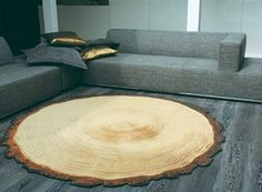 an actual tree cross-section as a rug.