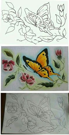 Here are the Beautiful Acrylic Paint On Fabric Coloring Page. This post about Beautiful Acrylic Paint On Fabric Coloring Page was posted . Saree Painting Designs, Fabric Paint Designs, Acrylic Paint On Fabric, Fabric Painting, Art Drawings For Kids, Easy Drawings, Broderie Simple, Bird Stencil, Butterfly Drawing
