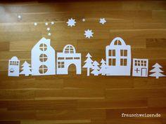 Fensterbild: Häuser im Winter window picture, deco, window picture houses, houses in winter, Christmas Time Is Here, Kids Christmas, Christmas Crafts, Christmas Ornaments, Diy And Crafts, Paper Crafts, Winter Pictures, Nouvel An, Winter House
