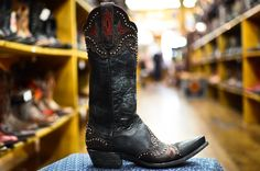 Red, black, distressed, and studded!