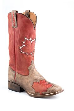 Roper Mens International Flags Boots Canadian Flag Boot Sq Toe