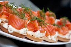 Salmon and Cream Cheese Mini Bagels