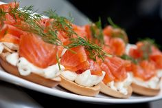 Salmon and Cream Cheese Mini Bagels by stefbearwitness, via Flickr