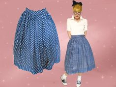 50s Good Girl Skirt is an Atomic Skirt, a Full Cotton Skirt for Rockabilly Sock Hop Rock n Roll, 50s Full Skirt, Below Knee Skirt by LunaJunctionVintage on Etsy