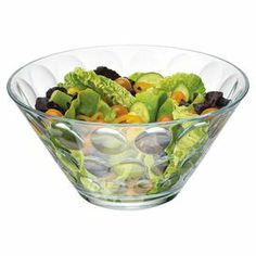 """Glass salad bowl with a dimpled design.   Product: Salad bowlConstruction Material: GlassColor: ClearDimensions: 7.18"""" H x 10.25"""" Diameter"""