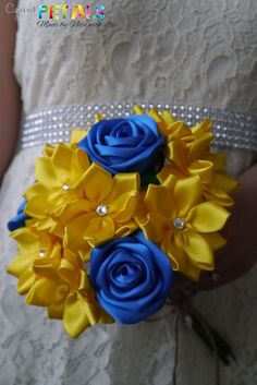 Blue & Yellow Satin Ribbon Rose Bouquet Handmade by CuriousPetals, £25.00