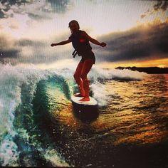Wake surfing Flathead lake