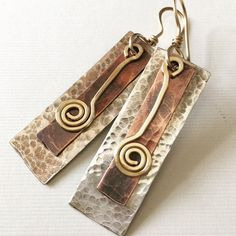 Silver, copper and gold-filled hammered earrings