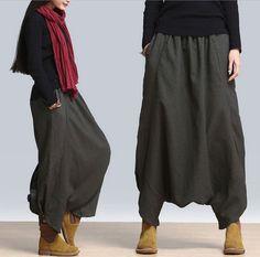 78bede7084 A11 Spring Casual Low Crotch Elastic Waist Linen Women Harem Skirt Pants  Pocket #YFS #