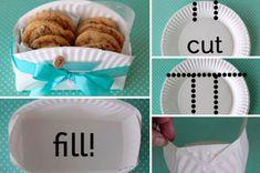 Grâce à une assiette en carton, fabriquez d'adorables paniers pour présenter vos biscuits