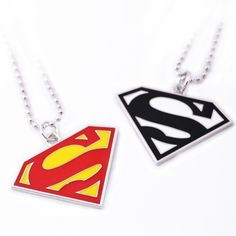 Superman necklace long pendant | rockabilly necklace
