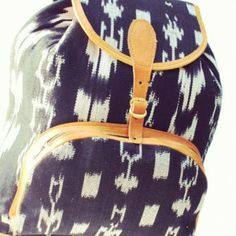 Ikat fabric trim on backpack