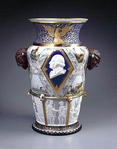 '' Century Vase '' Karl L.H. Müller (designer), Union Porcelain Works (manufacturer) 1876.  Porcelain with enamel and gilding;  Shown at the Centennial International Exhibition, Philadelphia, 1876.