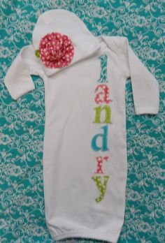 Newborn baby girl gown  and hat to match by SugarRidgeBabies