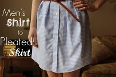 Men's Shirt to Pleated Skirt Diy Clothing, Sewing Clothes, Tartan Clothing, Remake Clothes, Recycled Clothing, Sewing Men, Skirt Tutorial, Shirt Refashion, Shirt Skirt