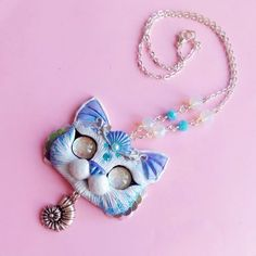 White and Blue Purrmaid necklace mercat sea kitty cat necklace by FleurDeLapin