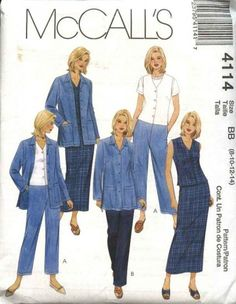 McCall's Sewing Pattern 4114 Misses Size 8-14 Wardrobe Jacket Vest Pants Straight Skirt  --  Currently Available for sale from www.MoonwishesSewingandCrafts.com