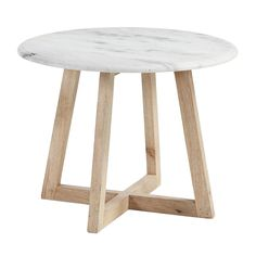 Side table with mango wood legs and marble top. Coffee Table Inspiration, Industrial Design Furniture, Wood Pedestal, Marble Wood, Wood Source, Round Side Table, Granite, Solid Wood, Furniture Projects