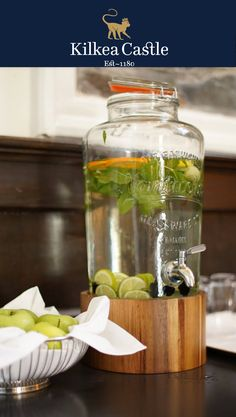 Our compliments upon arrival! A crisp green apple and mint infused cold water.