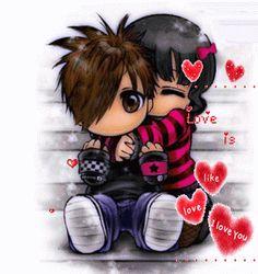 Royce do Cavaco Emo Love Cartoon, Cute Love Cartoons, Emo Cartoons, Emo Pictures, Creepy Pictures, Hugs And Kisses Quotes, Love Wallpapers Romantic, Love You Gif, Emoji Love