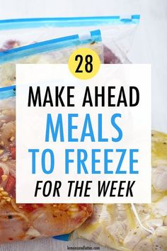 Make ahead meals are the perfect solution for busy moms who don't have much time to cook. Try these 28 make ahead meals to freeze for the week! Best Meals To Freeze, Good Meals To Cook, Best Frozen Meals, Easy Freezer Meals, Work Meals, Dinners To Make, Healthy Meals To Cook, Make Ahead Meals, Freezer Cooking