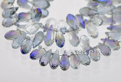 30pcs Teardrop Crystal Faceted Glass beads 7x15mm Blue by Nbeads