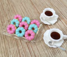 Cups of Dark Coffee and Doughnut on Tray Dollhouse Miniatures Food