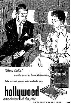 Propaganda dos Cigarros Hollywood em 1956, onde eles recomendavam o uso do cigarro durante as longas viagens de avião.