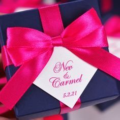 Elegant Wedding favor box with Hot Pink satin ribbon bow and your names, Navy Blue Wedding Bonbonniere, Personalized favor boxes for guests