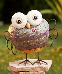 Owl Rock Garden Friend makes a cute accent to your outdoor space. Place it by a fountain or birdbath, order several to arrange along a path, or give your favorite plant a new buddy. Whimsical garden figurine looks like a natural stone that has been combi Garden Figurines, Garden Statues, Owl Rocks, Garden Owl, Garden Ideas, Most Beautiful Gardens, Scrap Metal Art, Stone Sculpture, Rock Crafts
