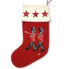 Sequin Marching Guards Christmas Stocking (Red) - Jan Constantine