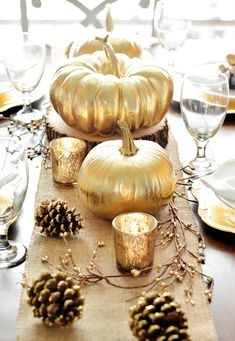 Fall Thanksgiving tablescape with gold pumpkins