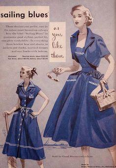 1950s blue dress full skirt crop jacket white accents sailor blue #nautical #fashion #50sfashion