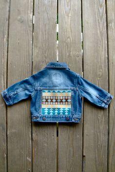 Vintage Dark Blue Baby Levi Denim Jacket w/ Aqua by SavoryJunk, $45.00