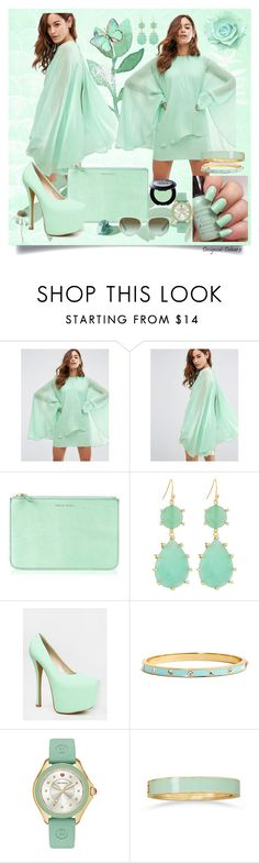 """Mint Cape Dress"" by designcat-colour ❤ liked on Polyvore featuring ASOS, India Mimi, The Row, Sally Hansen, Panacea, Red Kiss, Kate Spade, Michele and BillyTheTree"
