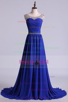 2016 Scoop Prom Dresses A Line Pleated Bodice Chiffon With Beads Dark Royal Blue